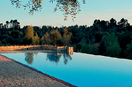 panoramic view on swimming pool and landscapeon Mallorca